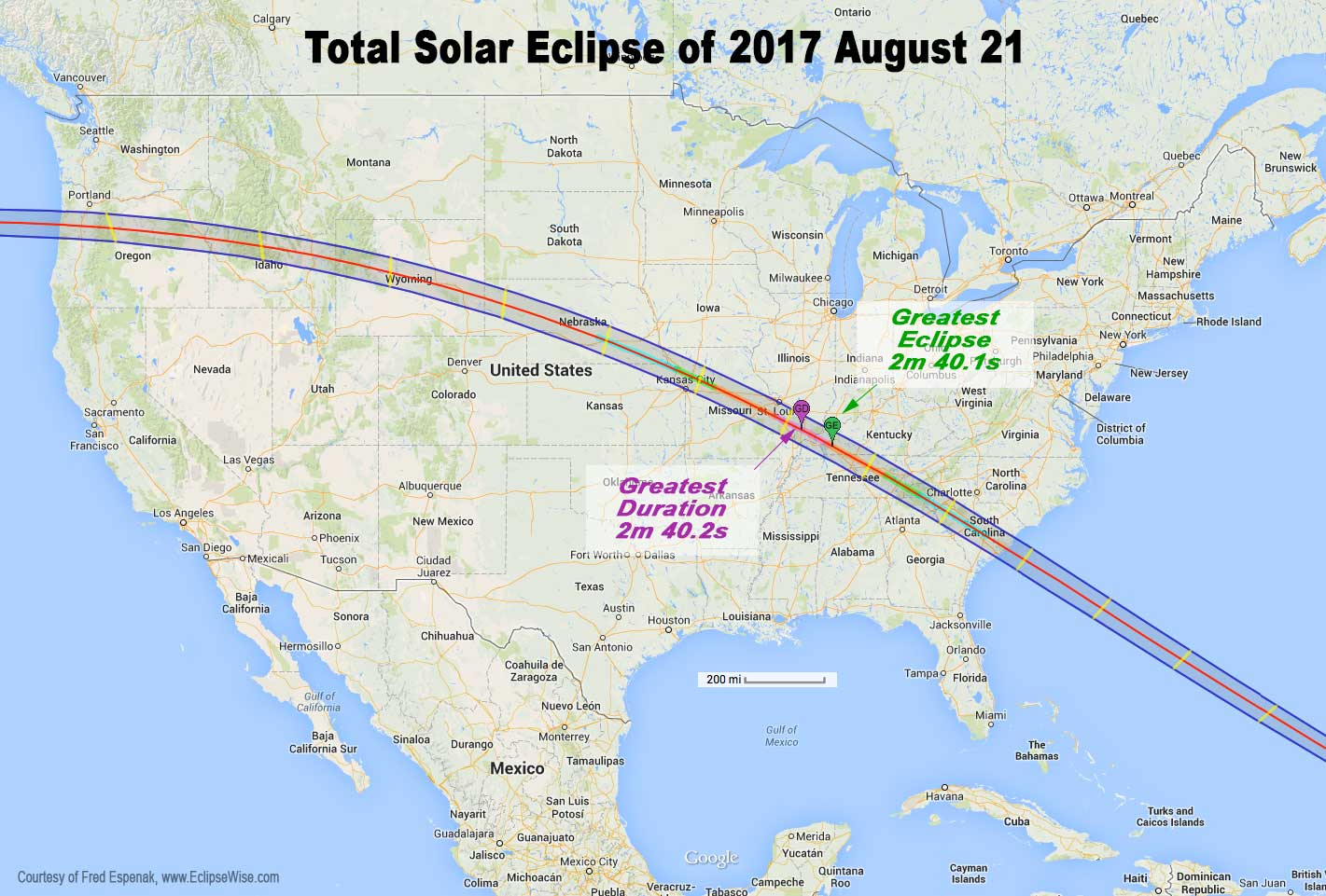 2017 Total Solar Eclipse Map